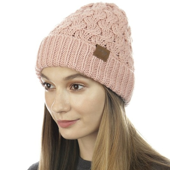 Cloie Accessories - Pink Cold-Day Knit Cap Hand Knit Beanie